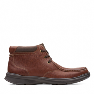 Clarks Mens Cotrell Top Tobacco Leather Boots